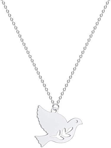 BACKZY MXJP Halskette Halskette Frieden Taube Vogel Anhänger Halskette Ainless Schmuck Lange Halskette Olivenzweig Blatt Halskette Wen Zubehör Geschenk