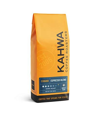 Kahwa Coffee Cubano Dark Roast Espresso Blend, Whole Bean Coffee, 12 oz Bag