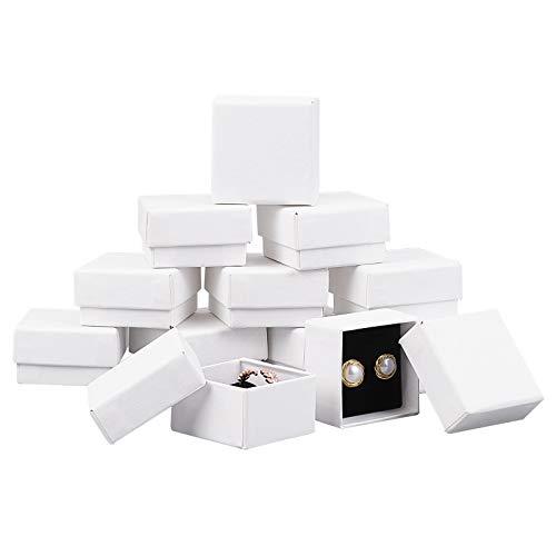 BENECREAT 24 Pack Caja Blanca de Cartón de Anillo 5x5x3cm Caja de Papel de Joyería Caja de Peresentación de Anillo Envase de Regalo para Cumpleaños, Aniversarios, Boda