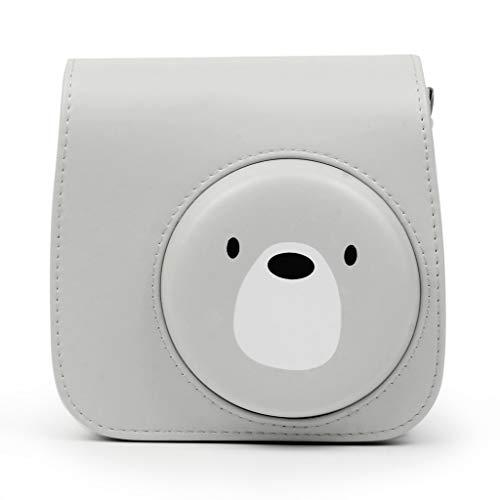 95sCloud Kamera-Taschen Hülle für Fujifilm Instax Mini 9/8/8 + Sofortbildkamera, Süß Pinguin Bär aus Weichem Kunstleder Compact Schutztasche Kompaktkamera-Taschen mit Schultergurt & Tasche (Grau)