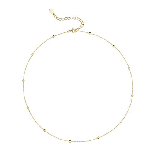 Minimalist Ball Bead Choker Sterling Silver Necklace for Women Teen Girls Satellite Beaded Adjustable Chain Layering Simple Chokers 18K Gold Plated