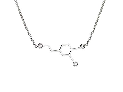 Aka Gioielli - Love Necklace Dopamine Molecule Pendant in Sterling Silver Rhodium with Swarovski Crystal for Girls