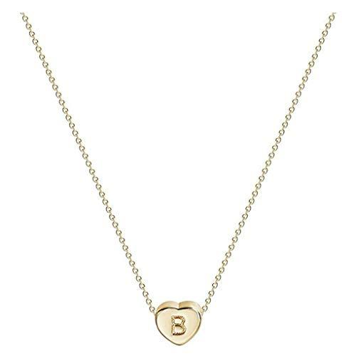 Dorical Buchstaben Kette/Damen-Kette Buchstaben A-Z in Silber oder Rosegold - Alphabet Halskette mit Anhänger- Silberkette Halschmuck für Damen, Kinder & Herren Sonderverkauf(01-B,One Size)