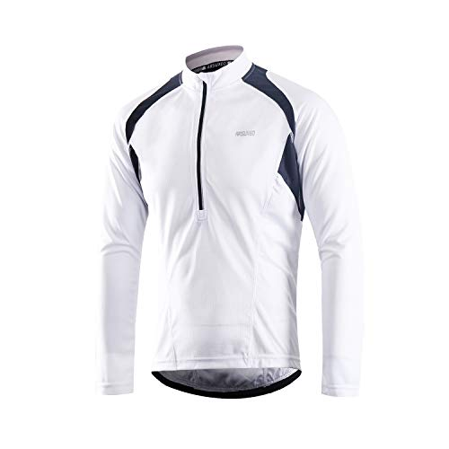 ARSUXEO Men's Half Zipper Cycling Jerseys Long Sleeves MTB Bike Shirts 6031 White Size Large