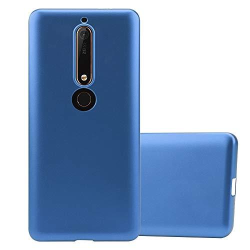 Cadorabo Custodia per Nokia 6.1 2018 in Azzurro Metallico - Morbida Cover Protettiva Sottile di Silicone TPU con Bordo Protezione - Ultra Slim Case Antiurto Gel Back Bumper Guscio