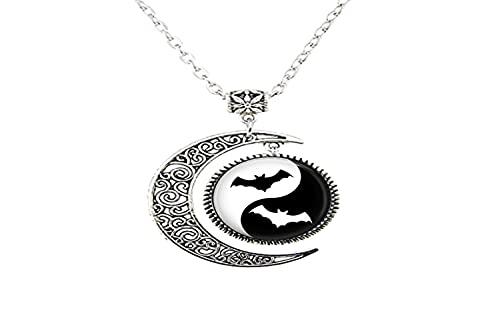 Ying Yang Bat Art - Collar de luna de cristal para hombre y mujer