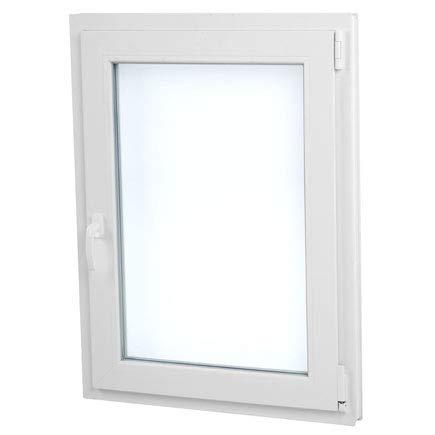 Finestra PVC 70 cm x 100 cm | REGALO Staffe di Montaggio | Bianco | Aperture a Vasistas | Elevato isolamento termico e acustico | Pratico | Resistente al sole | Apertura a Destra