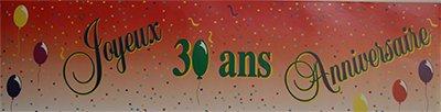 banderole papier Joyeux anniversaire 30ans - 2.44X0.16m - l'unité