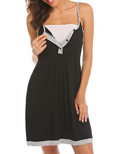 Balancora Umstandskleid Damen Nachthemd Umstandsnachthemd/Still-Nachthemd für Schwangere Nachthemd-Nachtwäsche zum Stillen