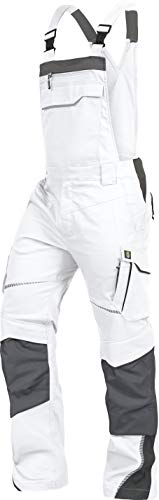 LEIB WÄCHTER Flex-Line Arbeitslatzhose Latzhose Premium mit Spandex weiß-grau Gr.42-68/24-30/90-110 (62)