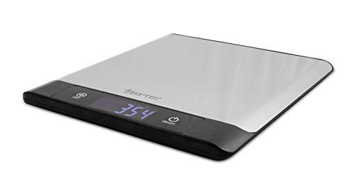 SUNTEC Küchenwaage mit Nährwertfunktion KWA-8328 nutri [Misst bis 5 kg auf 1 g genau, analysiert Nährstoffgehalt von 931 Lebensmitteln, Memory-Funktion, mit Lebensmittel-Codes, exkl. 3xAAA Batterien]