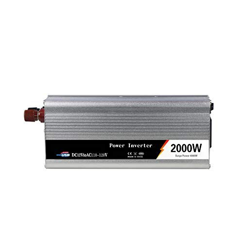 GQFGYYL Solar inverters, 1000W /2000WPower Inverter 12V to 110V/220V Voltage Converter Car Charger Power Adapter with USB Charging Ports,12V to 110V(2000W)