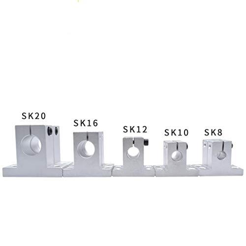 Rodamientos de Block, 4pcs SK10 SK8 8 mm 10 mm 12 mm SK12 SK16 SK20 16mm 20mm eje de soporte, eje lineal soporte lineal Varilla CNC Router (Size : SK12 12mm)