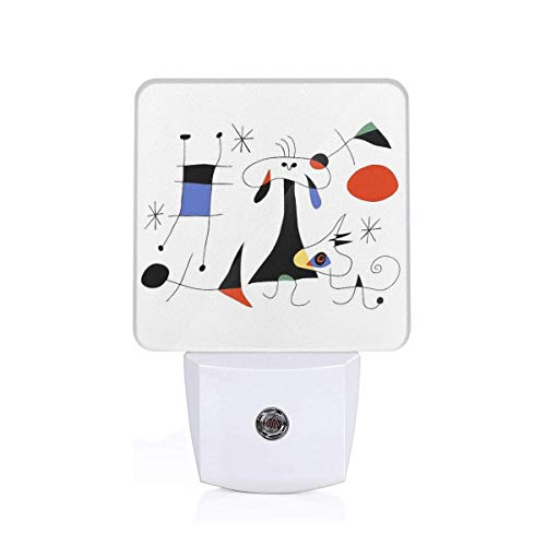 WXGY Joan Miro De zon (El Sol) 1949 Schilderen Artwork Voor Prints Posters Tshirts Tassen Vrouwen Mannen Kids Plug-in LED Nachtlamp Met Lichtsensor Badkamer Toilet Slaapkamer Keuken Muur Decoratieve Daglicht Wit Voor Kinderen Kinderen