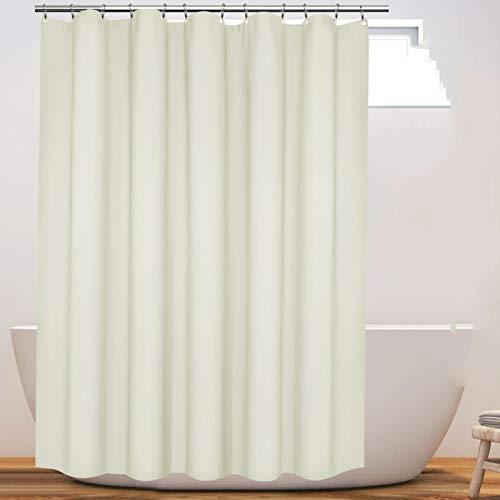 Eforcurtain Romantischer Duschvorhang aus Stoff, extralang, 137 x 198 cm, hellgelb, wasserdicht, schwer, mit verstärkten rostfreien Metallösen.