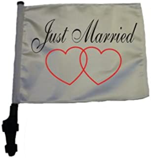 SSP Flags JUST Married Golf Cart Flag EZ On & Off Bracket