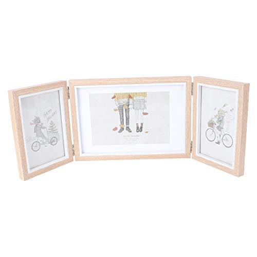 Garneck Dreifach-Bilderrahmen für mehrere Fotos, 15,2 x 10,2 cm und 17,8 x 12,7 cm, klappbarer Bilderrahmen aus Holz, dreifach aufklappbarer Bilderrahmen für Schreibtisch, Hochzeitsgeschenke