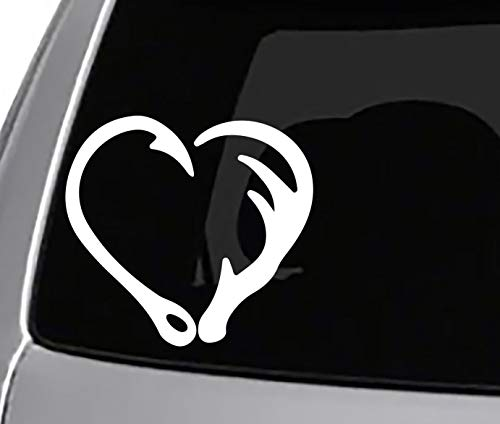 Seek Fish Hook Antler Heart Decal CAR Truck Window Sticker Animals Hunting Fishing Outdoors