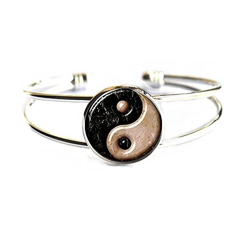 Yin Yang Bracciale rigido con simbolo di equilibrio Yinyang Yingyang Tai Chi Kung Fu Sports Jewelry,N139