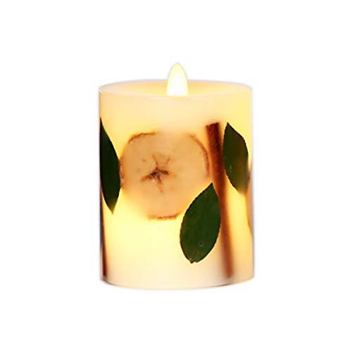 Xinmade Heminredning äkta blomma inbäddat flamlöst ljus, H 12,7 cm, äkta växt inbäddat pelarljus, flimrande doftande LED-ljus, äkta vax, rörlig veke (äpple, blad, kanel)
