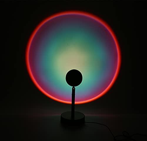 Lámpara de Proyección Puesta de Sol, Lámpara Sunset con Rotación y USB, Iluminación con Efecto Atardecer, Luces LED