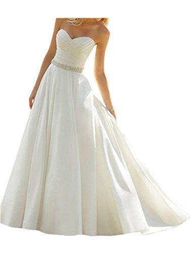 Victory Bridal Elfenbein Elegant Herzausschnitt Hochzeitskleider Brautkleider Brautmode Lang A-linie-40 Elfenbein