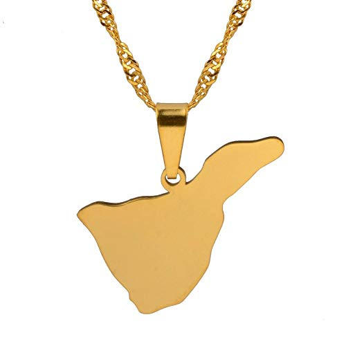 NSXLSCL Vrouwen Hanger Ketting, Mode Spanje Canarische Eilanden Tenerife Kaart Hanger Kettingen Voor Vrouwen Meisje Goud Kleur Sieraden Giftsfor
