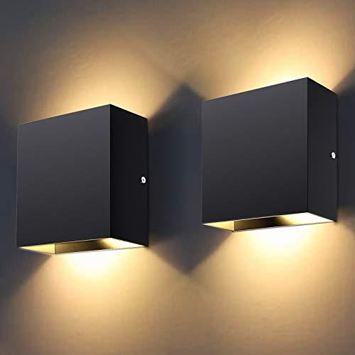 lovebay Lámpara LED de pared interior moderna, iluminación de pared interior para salón, dormitorio, cuarto de baño, pasillo, balcón, escaleras, 10 W, color negro, blanco cálido (a dos unidades)