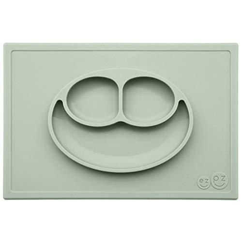 EZPZ Mini Bowl 12 Monate + Schüssel aus 100% Silikon mit integriertem Platzdeckchen für Babys und Kleinkinder, Salbei (EZEUHMS001)