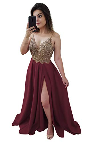 Plus Size 22 Burgundy Women's Beaded Prom Dresses Slit A-Line Satin Formal Evening Gown Party Maxi Dress with Pockets (Apparel)