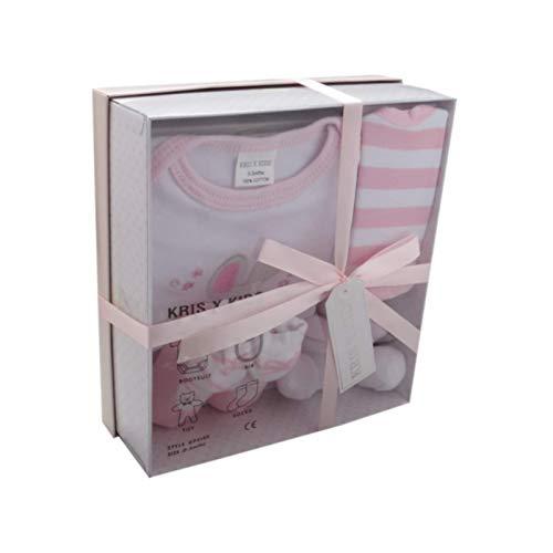 Nouveau-né Gift Set Bébé avec Bodysuit , Bib , Jouet, chaussettes dans une boîte-cadeau . 0 - 3 Mois