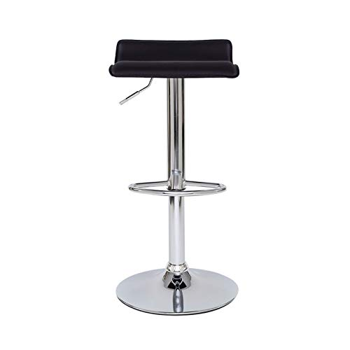 dibea Juego de 2 taburetes de Bar (Piel sintética, giratorios, 360°, Altura Regulable), Color Negro