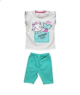 Jockey Printed Snap-Closure Ruffle-Sleeve T-shirt with Elastic-Waist Pants Pajama Set for Girls - Mint and Grey, 9-12 Months