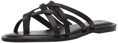 Amazon Brand - 206 Collective Women's Solo Leather Slide Sandal, Black, 8 B US