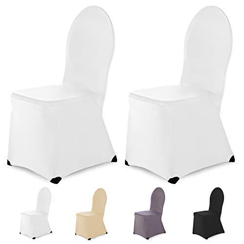 SCHEFFLER-Home Ben 2er Set Bankett Stuhlhussen Stretch, Stuhlabdeckung elastisch Spannbezug mit Fuß Kappen, weiß