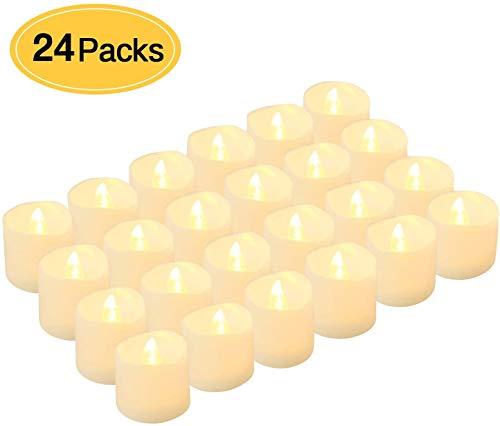 Kohree 24 x Velas LED Realista brillante Parpadeo con pilas sin llama LED que parpadean para hogar festivales decoración, bodas, interior, exterior, outdoor