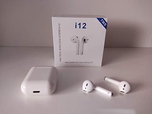 Auriculares inalámbricos Bluetooth 5,0 True i12 TWS, táctiles para Android e iOS Recargables, emparejamiento automático para Llamadas binaurales, con Estuche de Carga portátil