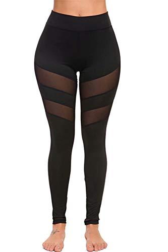 Zabmauek Pantalones de yoga para mujer Leggings de cuerpo entero Malla de cintura alta Pantalones deportivos deportivos de retales transparentes Negro XS