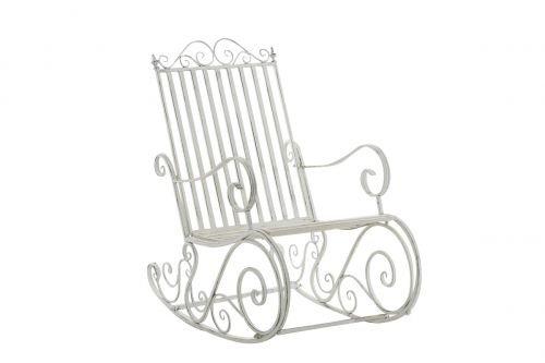 CLP Sedia A Dondolo Smilla Stile Rustico Nostalgico I Sedia A Dondolo Classica in Ferro I Sedia A Dondolo Design, Colore:Antico Bianco