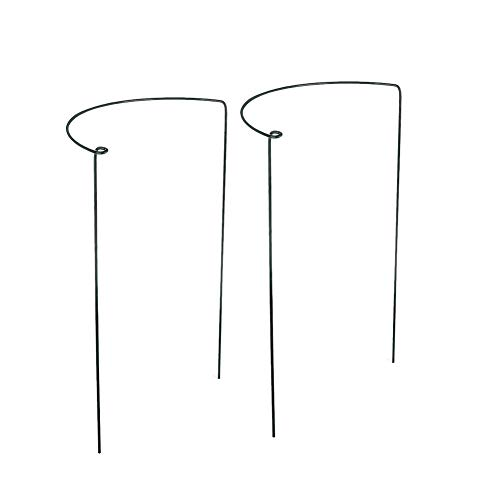 INFILM 2 Pcs Half Round Garden Plant Support Ring Hoop, Metal Plant Stake Plant Cage for Tomato, Rose, Vine, Indoor Plants (7.87 x 13.7 inch)