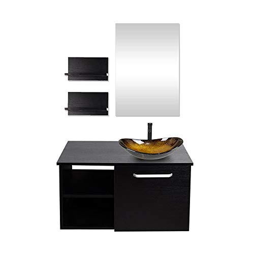 Puluomis 28-Inch Bathroom Vanity, Modern Lavatory Wall Mounted Wood Cabinet, with Mirror, Wood Black Fixture, Oval Tempered Glass Sink Top with Single Faucet Hole