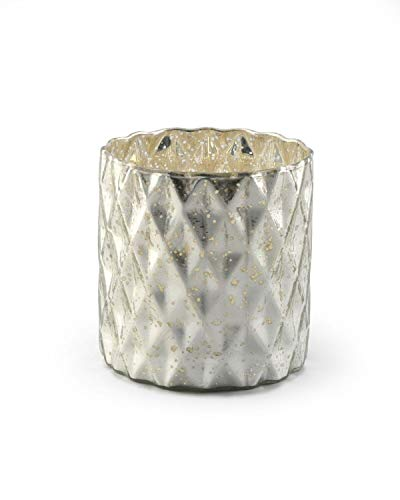 """Serene Spaces Living Silver Diamond Mercury Cylinder Vase - Handmade Mercury Glass Finish & Vintage Style, Ideal for Home Decor, Weddings, Events, Measures 5"""" Tall x 5"""" Diameter"""