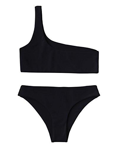 ZAFUL Womens Two Piece Swimsuits One Shoulder Sexy Low Waist Bikini Set Swimsuit Black