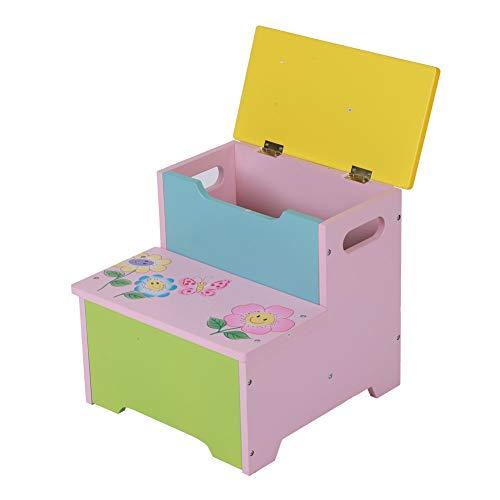 Cocoarm speelgoedkist, houten kist, opbergruimte voor kinderkamer, zitbank, tafelbank, speelgoedkist, kindermeubels, 33 x 32 x 31 cm