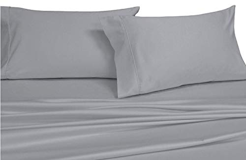 Royal's Solid Gray 600 Thread Count 3pc Twin Extra Long Bed Sheet Set 100% Cotton, Sateen Solid, Deep Pocket