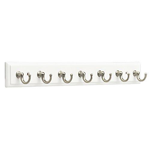 Franklin Brass Key Hook Rail Wall Hooks 7 Hooks, 14 Inches, White & Satin Nickel Finish, FBKEYT7-WSE-R
