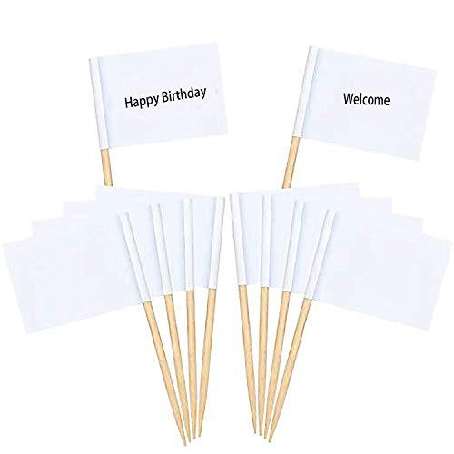 Leere Zahnstocher Flaggen I CozofLuv 100 Stücke Käse Marker Weiß Flaggen Kennzeichnung für Party Kuchen Lebensmittel Käseplatte Vorspeisen