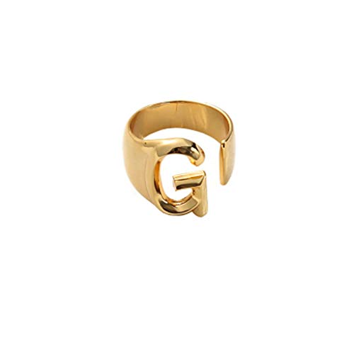 jingmeizi Initial Rings Adjustable A-Z Letters Open Ring Statement Name Alphabet Personalized Ring Bands Jewelry for Women Men