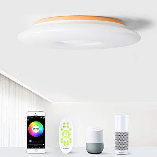 Luz de techo LED inteligente con altavoz Bluetooth,compatible con Alexa/WiFi/Google Home,36W(3000LM) 30CM,Luz de música con brillo de color RGB regulable para sala de estar y dormitorio