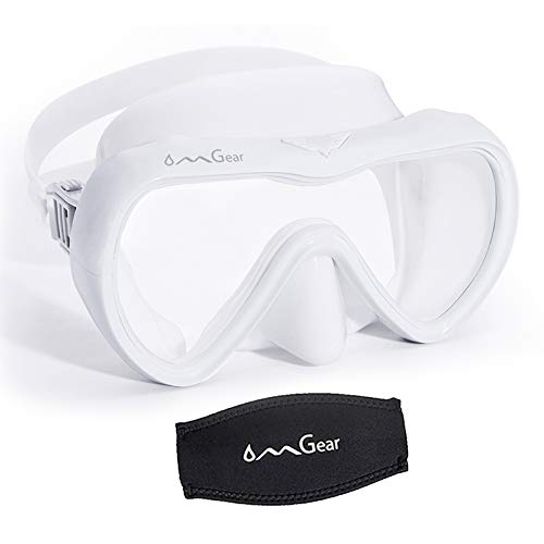 OMGear Diving Mask Snorkeling Gear Kids Adult Snorkel Mask Dive Goggles Silicone Swim Glasses with Nose Cover for Scuba Free Diving Spearfishing Neoprene Strap Cover Impact Resistance (White)